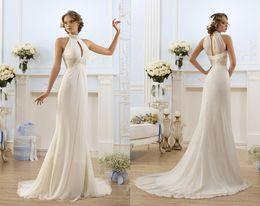 red wedding dress beach 2019 - Unique Halter Chiffon Summer Beach Wedding Dresses Sheath Beaded Crystals Sash Floor Length Bridal Gowns Women Evening P