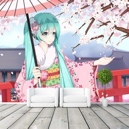 $enCountryForm.capitalKeyWord Canada - Hatsune Miku Photo wallpaper Japanese anime Wallpaper Custom 3D Wall Murals Kids Girls Bedroom Livingroom Shop Art Room decor Pink Sakura