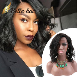 Discount bob cut black hair - Bob Style Hair Wigs Short Cut Wavy Natural Black Lace Wig Human Hair Full Lace Wig Front Lace Wig For Black Women BellaH