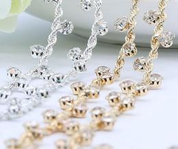 Discount wedding dress rhinestone trim - 1 Yard Sparkle Rhinestones Crystals Silver Gold Plated Ribbon Chain Trim Fow Sewing Wedding Dress Diy Craft