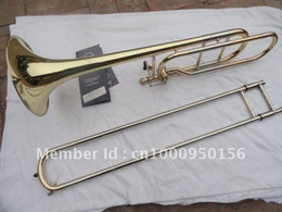 Discount gold trombone - Bach 42BO Senior Tenor Trombone 95 Alloy Copper Body Gold Lacquer Surface Bb Trombone Musical Instruments Free Shipping