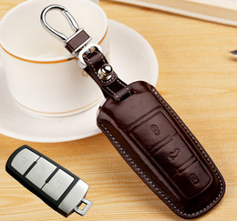 vw accessories Canada - Genuine Leather Remote Car Key Cover for volkswagen VW 3 Buttons Passat B6 B7 Magotan Passat CC Keyrings Chain Key Case Holder Accessories