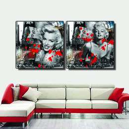 $enCountryForm.capitalKeyWord NZ - 2 Pieces Free shipping Home decoration Paint on Canvas Prints Eiffel Tower Triumphal Arch Big Ben goddess city Marilyn Monroe church Star