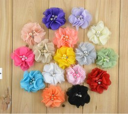 Barato Venda Pérola Para Diy-15% de desconto moda 16Colors 6cm Hot Sale Chiffon Pearl Diamond Flowers Baby Girls Headbands DIY Photography Props 200pcs xf drop shipping