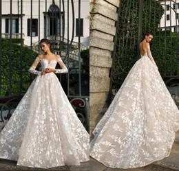 2018 Designer Spring New Long Sleeve Lace Abiti da sposa Illusion Neckline Backless Alta qualità Abito da sposa Fabbrica Custom Made