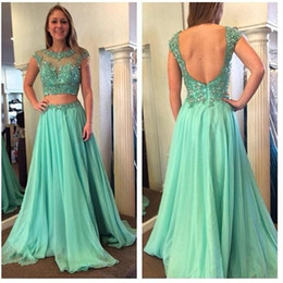 Blue Chiffon Pleated Fabric Canada - Two Pieces Sheer Beading Prom Dresses 2015 Fashion Jewel Neck A line Chiffon Fabric Evening Formal Dress Custom Pleated Appliques Party Gown