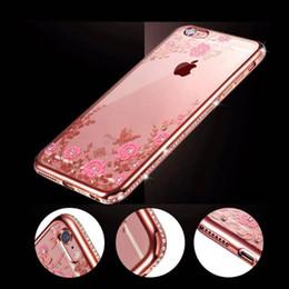 $enCountryForm.capitalKeyWord UK - For iPhone X 7 6 6S Plus 5S SE Luxury Electroplating Secret Garden Flowers Rhinestone Cell Phone Case Transparent Diamond Cases
