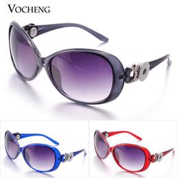 Snap button SunglaSSeS online shopping - VOCHENG Noosa Custom Snap Button Brand Designer Sunglasses Sun Glasses Woman Elegant Classic Big Frame Vintage Sunglass NN