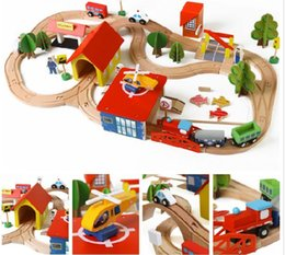 Discount toy battleships - Wooden Cars and Trains Set Toys 69pcs lot Include Trains Cars Airplane Railway Set Toys Kids DIY Birthday Gifts DHL Free
