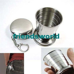 Wholesale Best Price 100pcs lot Stainless Steel Cup Travel Camping Folding Collapsible Cup Traveling Cup