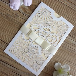 Laser cut invitation pockets canada best selling laser cut laser cut invitation pockets canada happy wedding invitation beige ribbon white laser cutting floral pocket stopboris Choice Image