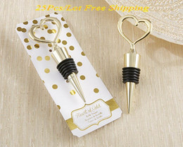 Wholesale Party Hot Plate NZ - (25 Pieces Lot) Gold Wedding Favors of Gold Heart Bottle Wine Stoppers For Wedding and Party Favors For Guests