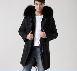 Dog Zipper NZ - MEIFENG brand Classic black raccoon fur trim outdoor men snow fur coats rabbit fur lining black long parkas with ykk zipper