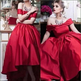 $enCountryForm.capitalKeyWord NZ - Modest High Low Bateau Neck Party Dresses Red Satin Custom Cheap A-Line Short Homecoming Wear Prom Dress Formal Evening Ball Gowns