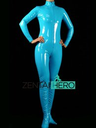 Barato Zíper Frontal Azul Catsuit-DHL New Arrival Sexy Sky Blue PVC Zentai Catsuit Fancy Dress Zentai Suit para Halloween Front Front Zipper AXM40
