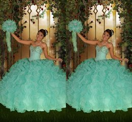 $enCountryForm.capitalKeyWord Australia - 2016 Vintage Mint Green Quinceanera Dresses Ball Gown Sweetheart Lace Up Beaded Crystals Floor Length Tiers 2015 Tulle Formal Prom Dress