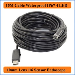 Industrial Video Endoscopes Canada - 15M Cable Length Waterproof Mini USB Endoscope Tube Snake Borescope Video Inspection Camera with 4 LEDs 640 x 480 CMOS 10mm Lens Surveillanc