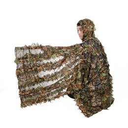 Full hunting camouFlage clothing online shopping - Outdoor Hunting Suit Set D Camo Bionic Leaf Camouflage Jungle Woodland Birdwatching Poncho Manteau Durable Hunting Clothing Cloak