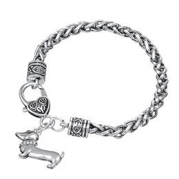 Dog Plates Canada - 10pcs Vintage Metal Antique Silver Plated Dog Pendant Bracelet and Bangle with Biker Jewelry Charm Snake Chain