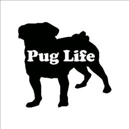 Vente en gros HotMeiNi En Gros 20 pcs / lot 13 cm * 12 cm Personnalité Mode Bull Dog Vie Carlin Autocollants De Voiture Car Styling Accessoires Noir Argent