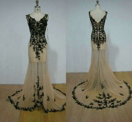 Barato Vestidos De Noite Shiping Livre-2016 New Arrival Real Photos Vestidos de noite V-Neck Sleeveless Floor-Length Vestidos de festa com Black Applique / Beads Custom Made Free Shiping