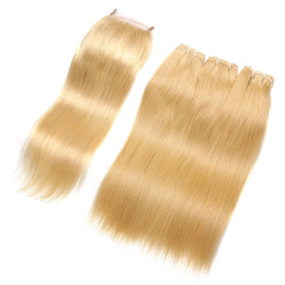 $enCountryForm.capitalKeyWord UK - European Human Hair High Quality Russian Straight Hair Bundles 3Pcs With Lace Closure #613 Platinum Blonde Hair Weaves With Lace Closure