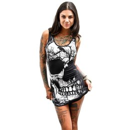 Los Vestidos Al Por Mayor Atractivos Del Club De Las Mujeres Baratos-Al por mayor-Vintage Skull Printed Dresses Women Sexy Bodycon Party Balck Dress Womens Summer sin mangas del vendaje del paquete de la cadera Vestido Vestido #Z