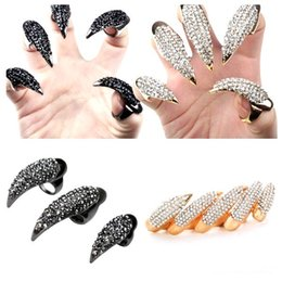 Clous De Strass En Or Pas Cher-2Colors 3Sizes Hot Retro Knighthood Antique Noir / Or plaqué Crystal Rhinestone Ring Eagle Claw Talons Nail Rings Jewelry
