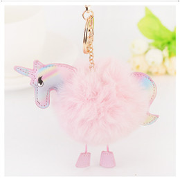 $enCountryForm.capitalKeyWord Australia - New pu unicorn accessories imitation rabbit hair creative key chain bag pendant gift