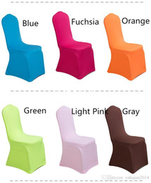 wholesale wedding chairs UK - Hot Sale Colorful Polyester Spandex Wedding Chair Covers for Weddings Banquet Hotel Decoration Decoration Supplies Wholesale Prices