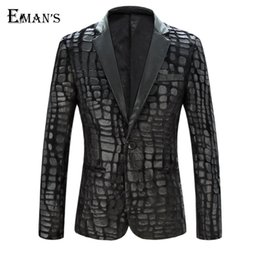 Enjoliveur Pas Cher-Mens Pu Leather Fur Blazer Plus Size M-4XL Fashion Designer Black Party Hommes Slim Fit Blazer Homme Outdoor Coat C1979