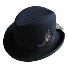 Blue felt hat online shopping - Traditional Wool Felt Homburg Fedora Hat Godfather Hat