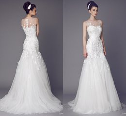 Zuhair Murad Wedding Dresses Muslim Arabic Lace Applique Bodycon Court Train Zipper White Bridal Dress To