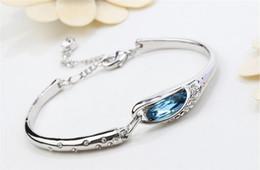 925 Bracelet Shoes Canada - Hot Sale women Style Luxurious Blue Austria Diamond Bracelet 925 Sterling Silver plated Glass shoes Bangle Bracelet Free Shipping