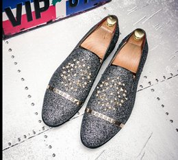 $enCountryForm.capitalKeyWord Australia - Brand Men loafers Silver Black Diamond Rhinestones Spiked Loafers Rivets shoes Male Designer Wedding Party Shoes dh2nx30