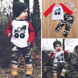 Barato Camuflagem Dos Meninos Camiseta-1-5T Toddler Kids Baby Boy Clothes T-shirt de manga comprida Tops + Camouflage Pant 2Pcs Outfit
