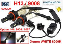 Xenon Beams Headlights Canada - 1 Set H13 9008 40W 6000LM CREE LED Headlight Driving Bulb LUXEON MZ 4-CHIP Hi Low Beam Xenon White 6500K 12 24V Mix H4 9004   9007 LED Kit