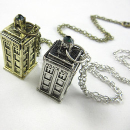 $enCountryForm.capitalKeyWord Canada - Doctor Who 3D Police Box Pendant necklaces with Long Chain 2 colors vintage style good gifts for kids free shipping