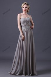 $enCountryForm.capitalKeyWord Canada - Dresses for Mother of the Bride Gray Floor Length Evening Gowns Strapless Chiffon A-line Beaded Waist Mother of Groom Dresses Custom Made
