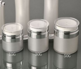 Discount acrylic cosmetic jar white - 15 30 50G Pearl White Acrylic Airless Jar Round Vacuum Cream Jar 15 30 50 ML Cosmetic Packing Pump Bottles