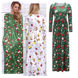 Barato Senhoras Manga Longa Maxi Vestido-Hot Christmas New Womens Ladies Long Sleeve Printed Slim Long Maxi Xmas Party Dress 3 Colors 4 Size