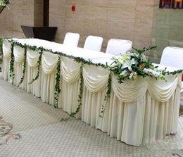 Ingrosso Gonna da tavolo in legno massello di seta bianca di moda con gonna lunga da 20 piedi VELOCE VELOCE