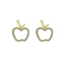 apple jewelry. wholesale 10pcs lot 2017 new arrival christmas gift 18k gold earrings luxury jewelry crystal cz apple stud for women white deals