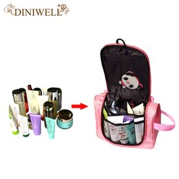 Folding Storage Mesh Organizer Canada - Wholesale- DINIWEL Camping Holiday Travel Toiletry Organizer Wash Bag Makeup Organiser Zipper Mesh Pocket Storage For Make Up Cosmetics