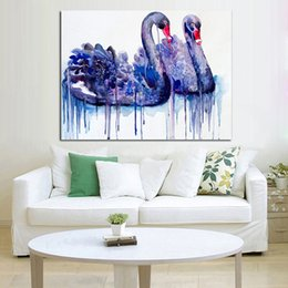Best Canvas Wall Decor Canada - Handpainted Oil Painting Beautiful Best Gift Swan Couple Paintings on Canvas Modern Abstract Art Wall Art Pictures Home Decor