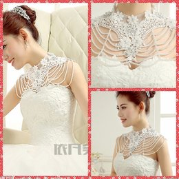 Barato Envoltório Frisado Topo-Crew Neck Applique Lace Wraps Rhinestone Beaded Bridal White Lace Wedding Shawl Jacket Bolero Beaded Crystal Jewery para casamento Top Sale