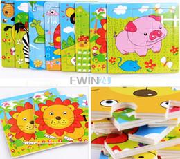 Vente chaude! Lovely 9PCS / SET jouets éducatifs Puzzle en bois de carton pour enfants Enfants Nouveau Livraison gratuite