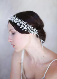 Luxury wedding hair online shopping - Luxury Pearls Bridal Headpieces New Real Image Handmade Crystal Hairbands for Girls Beautiful Wedding Hair Accessories for Bride CPA461
