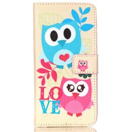 Cute Owl Phone Cases NZ - Lovely Pink Cute Cartoon Animal Owl Elephant Pug Flower Wallet Cover for Lenovo S90 with Card Holder and TV Function Phone Case