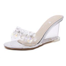 Silver Flower Wedges UK - Fashion Summer Crystal Women Sandals Peep Toe Flower Beads Transparent Wedge Sandals Size 34-40